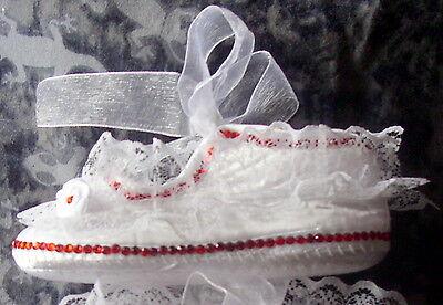 Baxter's Baby Bling. gitana Blanco Encaje Bautizo, Boda Zapatos. 6-12 meses.