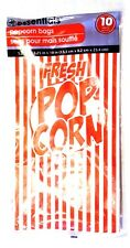 Essentials 10ct Pack Of 10 Red White Popcorn Bags Nip