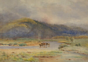 N-F-Dawe-Signed-Mid-20th-Century-Watercolour-Highland-Landscape