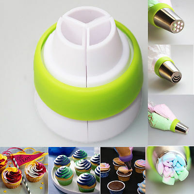 3-Color Icing Piping Nozzles Tips Pastry Bag Cake Cupcake Decorating Tool