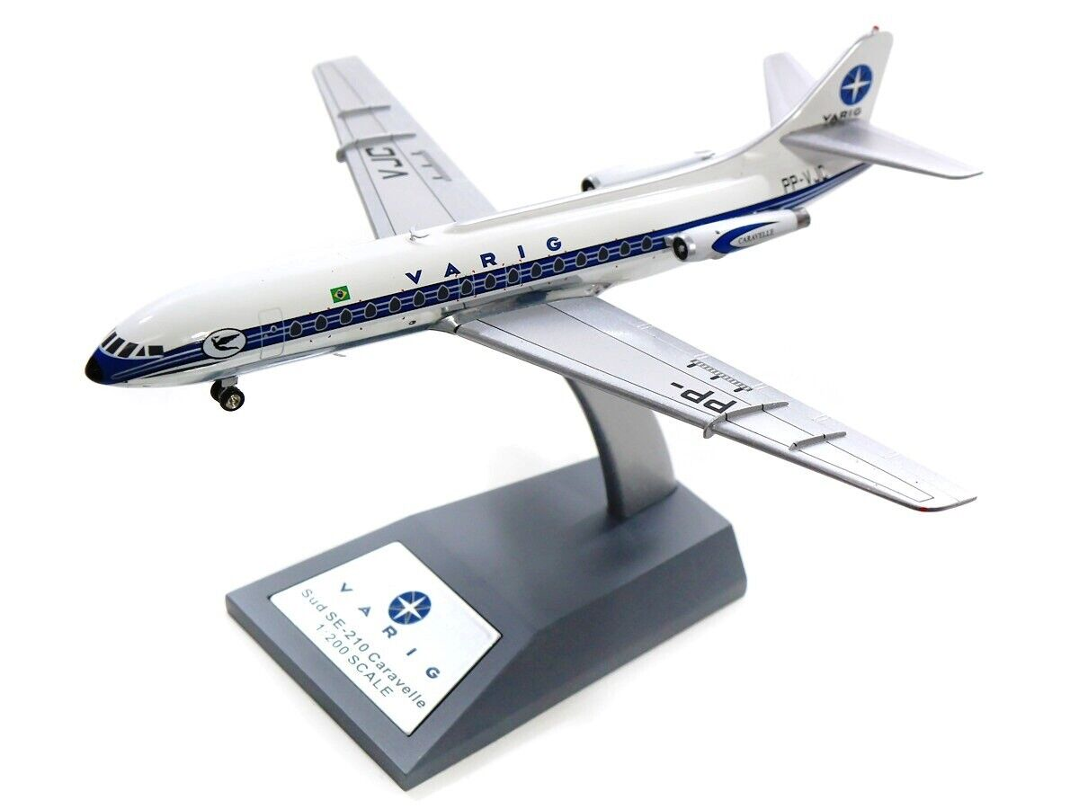 IF210RG1118P 1 200 VARIG SUD SE-210 CARAVELLE III PP-VJC POLISHED WITH STAND