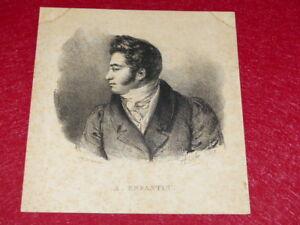 GRAVURE-XIXe-REFORMATEURS-SOCIAUX-UTOPISTES-PROSPER-ENFANTIN-1828-A-COLIN