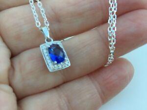 Sterling-Silver-pure-925-necklace-18-chain-cz-tanzanite-blue-pendant-quality