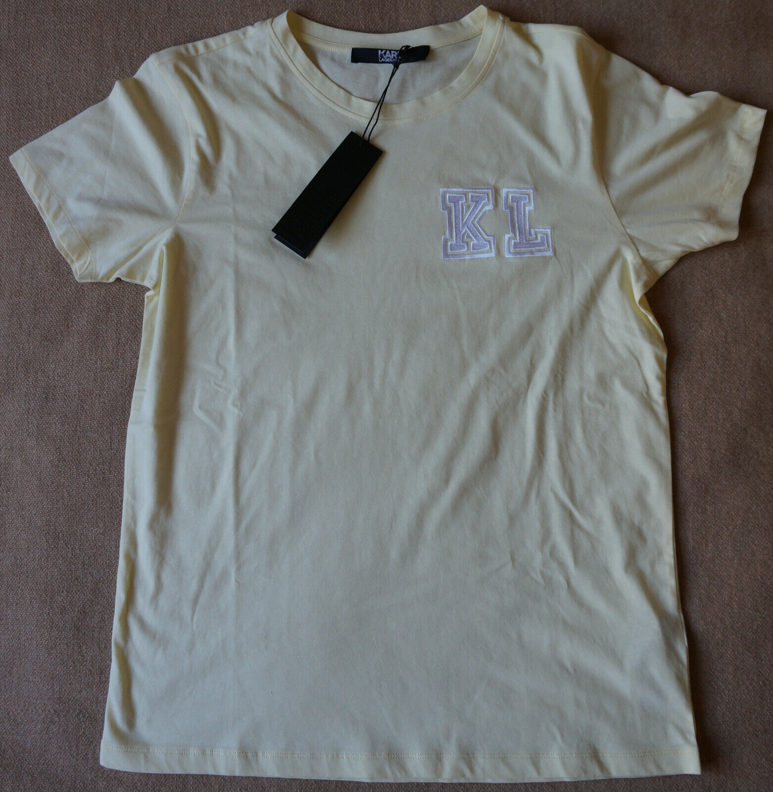 Karl Lagerfeld KL Embroidery Tee T-Shirt M Pastell Gelb 1A-Zustand P V1.