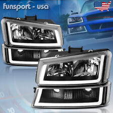 For 2003 2006 Chevy Silverado Black Housing Clear Headlightlamp With Led Drl 4pcs Fits 2005 Chevrolet Silverado 2500 Hd Ls