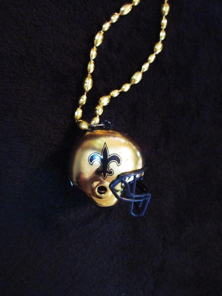 Fleur De Lis-Football Helmet//New Orleans Saints Black//Gold  Pendant Necklace