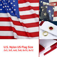 8x12 American Flag Usa Stars Embroidered Stripes Sewn Grommets Nylon Made In Us