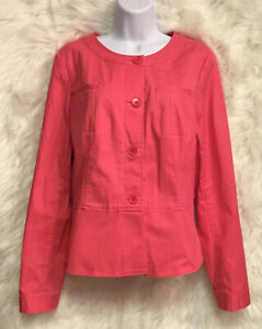 TALBOTS-Women-039-s-Collarless-Jacket-Coral-Buttons-L-S-Stretch-Sz-12-NWOT