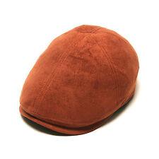 Unisex Mens Suede Flat Cap Stretch fit Newsboy Cabbie Gatsby Driver Hats Orange