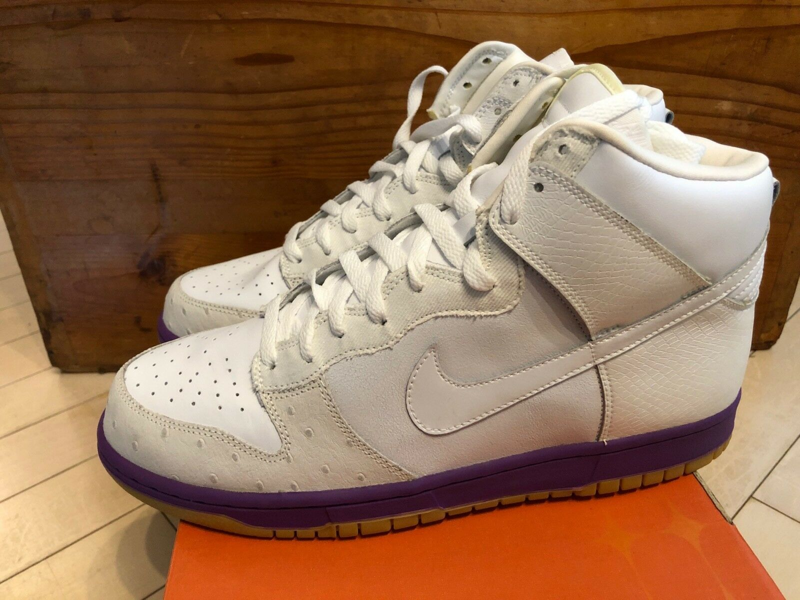 2005 Nike Dunk High Deluxe Ostrich White Purple Gum sz 11