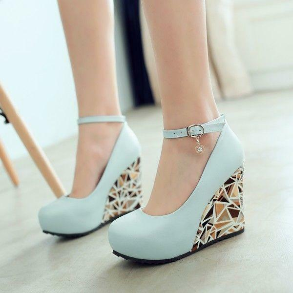 Women Elegant Wedge High Heel Ankle Strap Pumps Sweet Printing Platform Shoes Sz