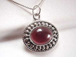 Garnet-Oval-with-Silver-Dot-Accents-925-Sterling-Silver-Necklace