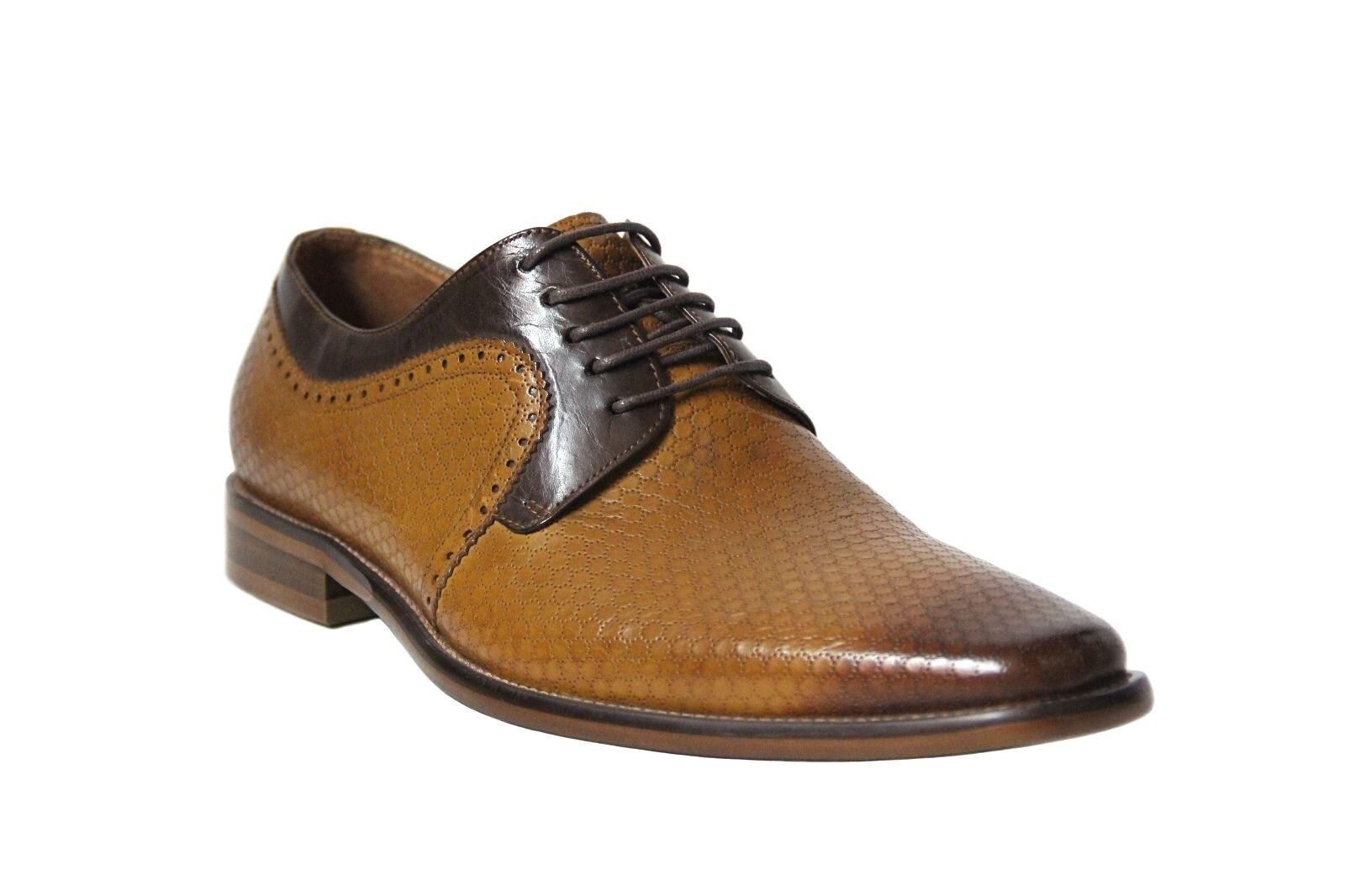 negozio online Steven Land Uomo Scotch Marrone Geometric Designed Leather Oxford Oxford Oxford scarpe  SL0013  sconti e altro