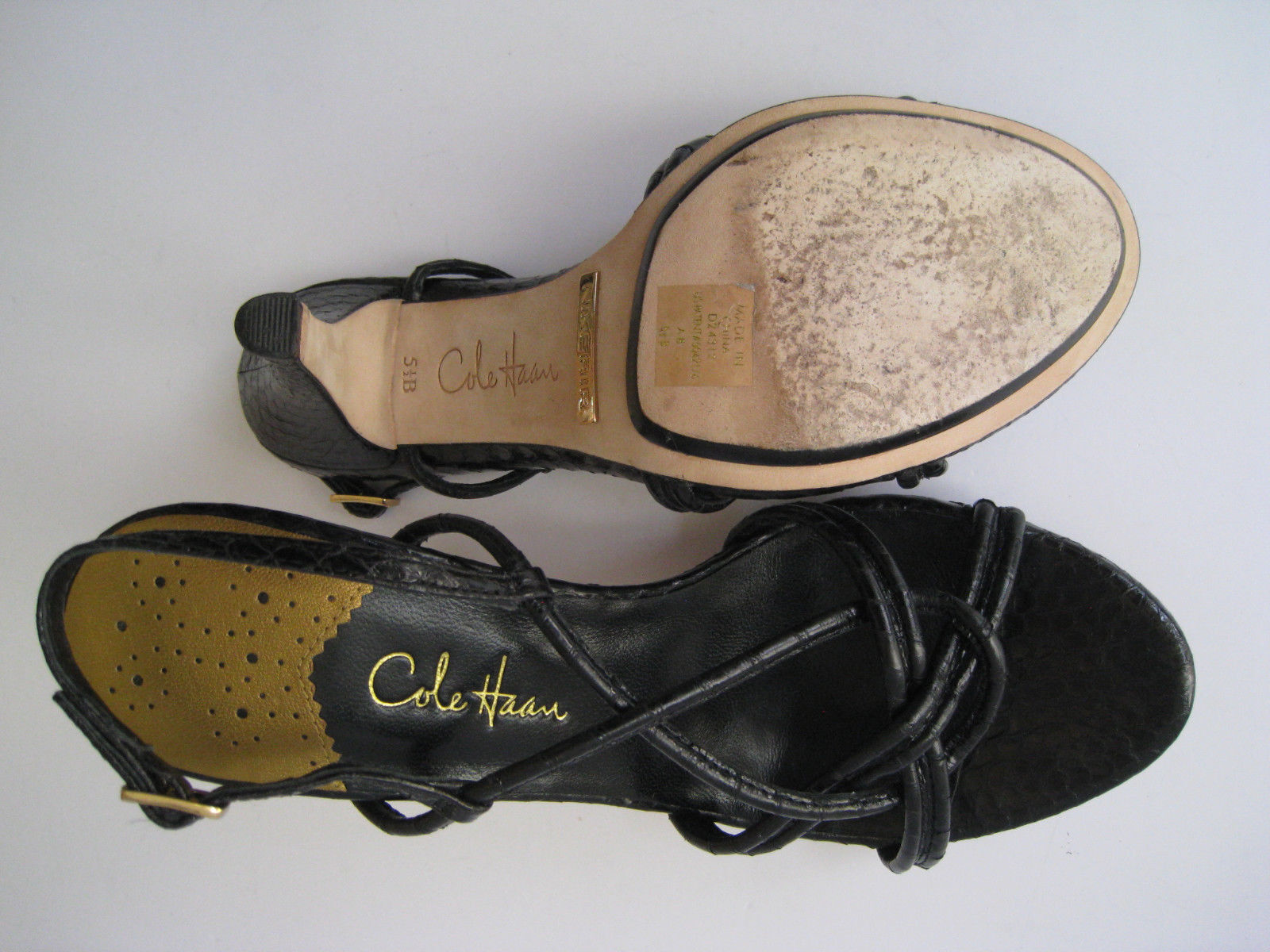 COLE HAAN LEATHER AIR SNAKE EMBOSSED BLACK LEATHER HAAN 3.5