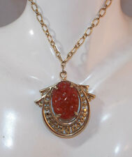 "Vintage Faux Red Jade Carved Molded Glass Gold tone Pendant 16"" Necklace 11h 79"