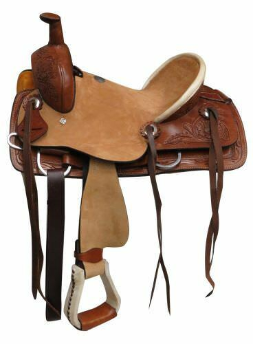 Double T Youth ROPER Style SADDLE Rough Out Hard Seat & Floral Tooled Leather