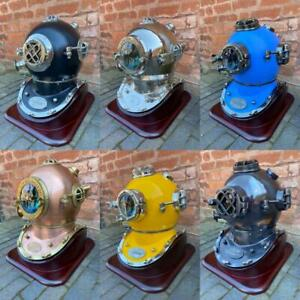 Large-Lifesize-Divers-Helmet-with-Wood-Display-Stand-Choice-of-6-Colours