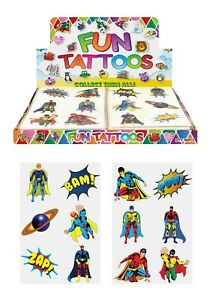 72-Childrens-Super-Hero-Temporary-Tattoos-Kids-Loot-Party-Bag-Fillers-Boys-Girls