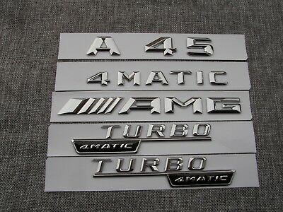 1pair Flat Black TURBO 4MATIC Letters Emblem Badge Emblems for Mercedes Benz AMG