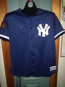 new arrival 298c1 19366 Details about NEW YORK YANKEES JERSEY XL MAJESTIC YANKEE NAVY BLUE 125TH  ANNIVERSARY WOW! L@@K