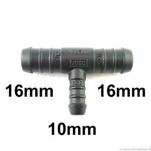 Réducteur Pièce en T 16-10 16 mm Raccord Tuyau Connecteur plastique barbelé