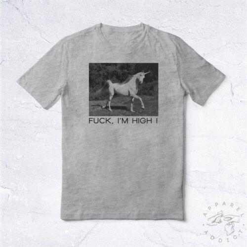 NEW Tee Shirt High Horse Unicorn BIO Licorne Cheval Oups Crazy Fun Joke 9Gag