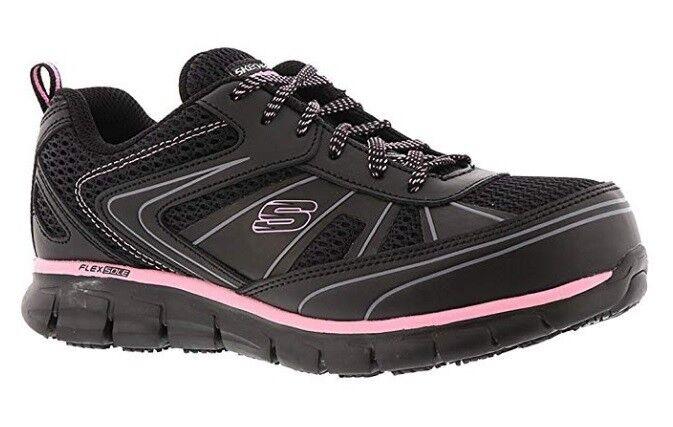 consegna gratuita Work nero rosa Skechers scarpe donna Memory Foam Foam Foam Slip Resistant Alloy Toe 77207  vendite online