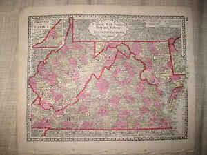 MINT ANTIQUE 1885 WEST VIRGINIA MARYLAND WASHINGTON DC DELAWARE TUNISON MAP NR
