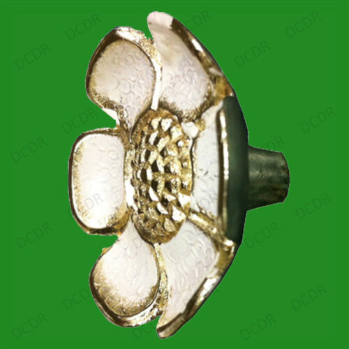 10x 37mm Flower Shaped Cupboard Drawer Door Knobs Brass Effect Cabinet