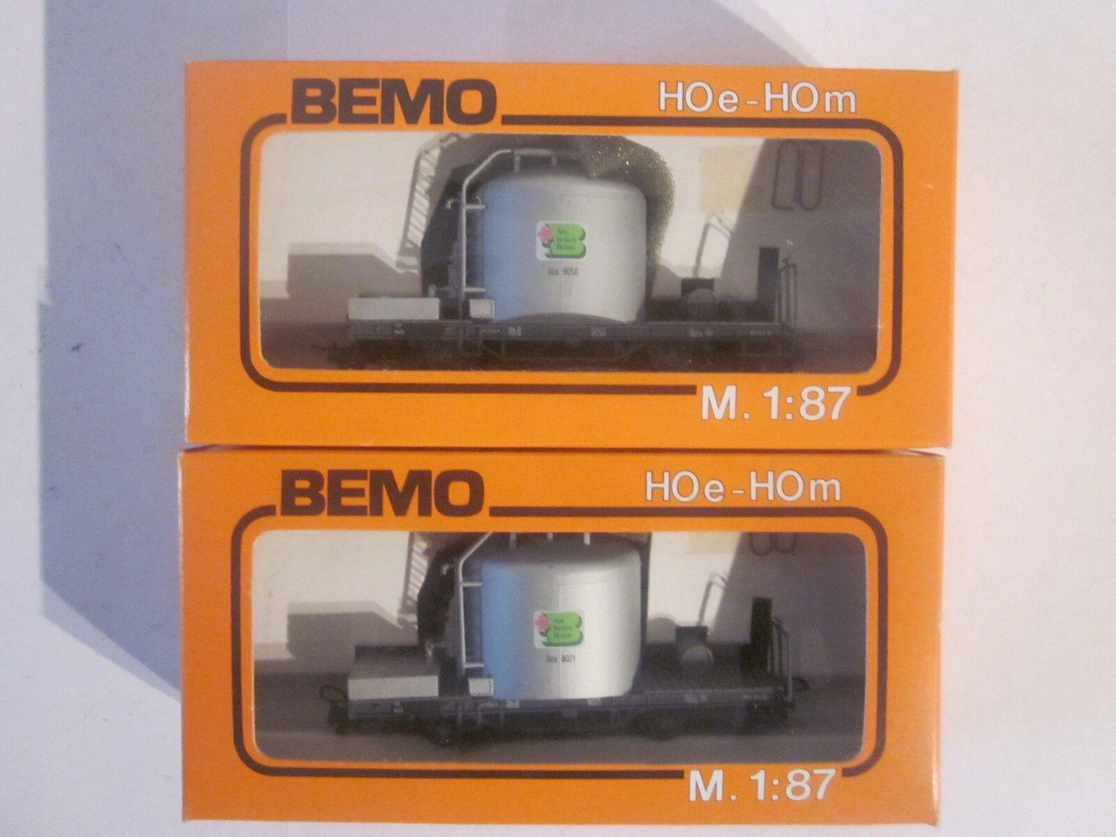 Bemo Hoe 2X Zementtransportwagen el Rhb Art.nr  2060 Emb.orig