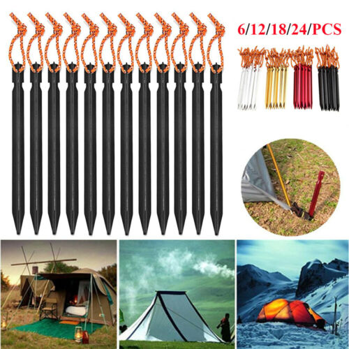 6//12//24PCS Heavy Duty 18cm Tent Pegs Camping Caravan Aluminum Alloy Awning Pegs