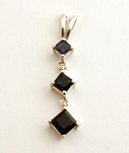 Elegant Iolite Pendant 925 Silver Gems Jewelry Sapphire Blue