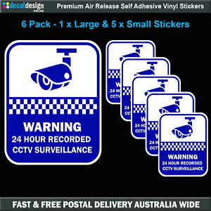 Security-camera-surveillance-warning-stickers-home-or-office-6-PACK-Decals-S512
