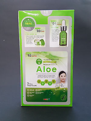 Korea Labute 3 Step Aloe Facial Mask Pack Set 10Pcs Brand New Free Shipping