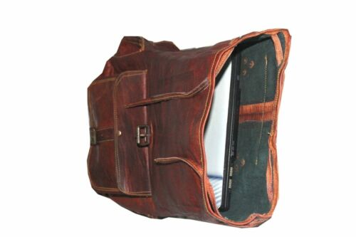 "Véritable 16/"" cuir véritable Hommes Sac à dos cartable marron vintage Sac Laptop rusksack"
