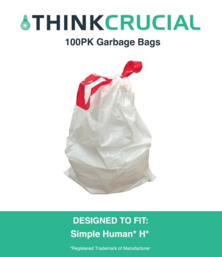 100 Replacements Simple Human H 30-35L 8-9 Gallon Durable Garbage Bags