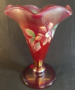 Fenton-Art-Glass-Hand-Painted-Ruby-Red-Carnival-Stretch-Vase