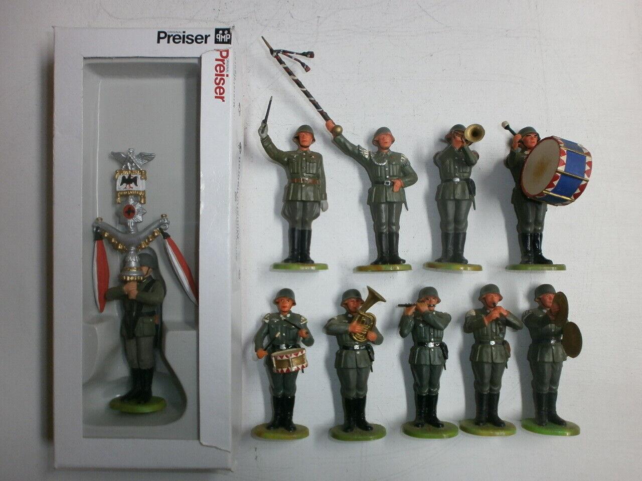 10 Antiguo Elastolin Kunststoffsoldaten Ejército Alemán Standmusiker Capilla
