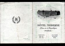 PARIS (X° Arrt.) HOTEL MODERNE / Tract de tarifications début 1900
