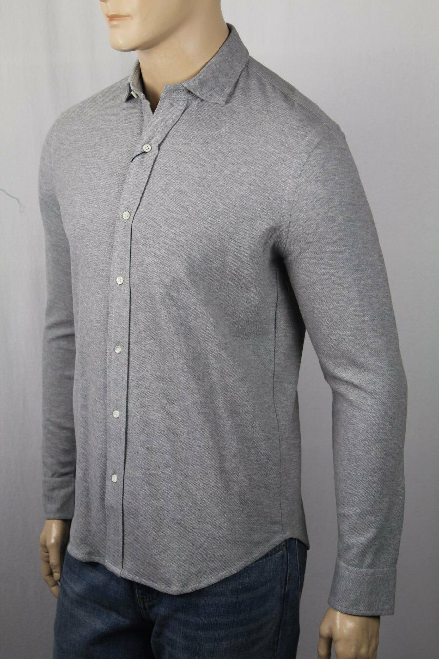 Ralph Lauren Grey Cotton Mesh Polo Button Up Shirt Classic Fit NWT