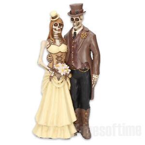 I-DO-GOTHIC-STEAMPUNK-BRIDE-GROOM-FIGURINE-WEDDING-CAKE-TOPPER-ORNAMENT-20-5CM