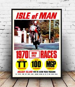 Isle-of-Man-Vintage-Motorcycle-Racing-advert-Wall-art-poster-Reproduction