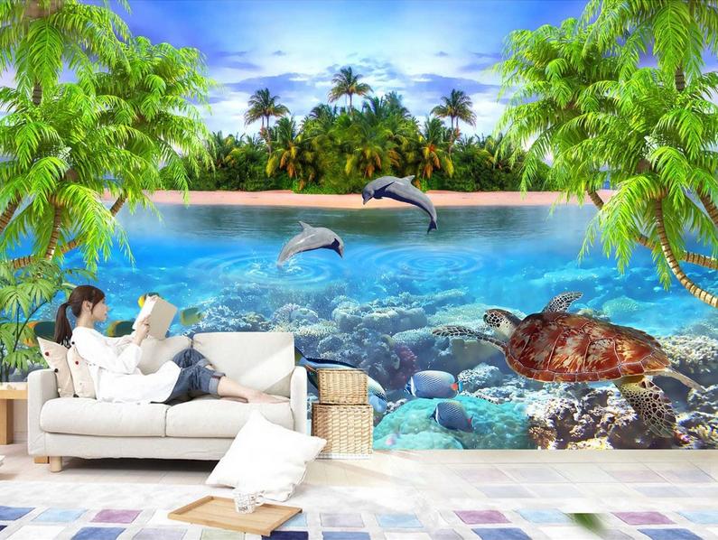 3D Inseldelfin Ozean 503 Tapete Tapeten Mauer Foto Familie Tapete Wandgemälde DE