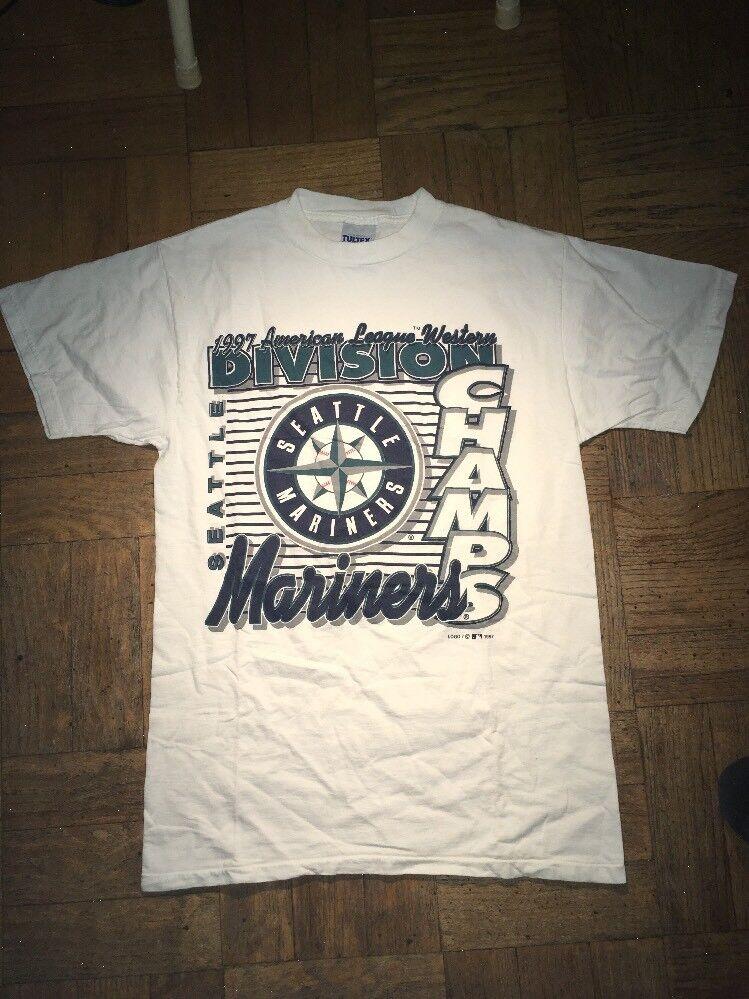 Vintage Logo 7 Seattle Mariners 1997 AL Division Champs Tshirt  Herren Medium