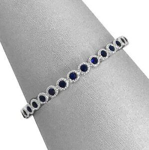 2Ct-Round-Cut-Blue-Sapphire-Eternity-Vintage-Wedding-Band-14K-White-Gold-Finish