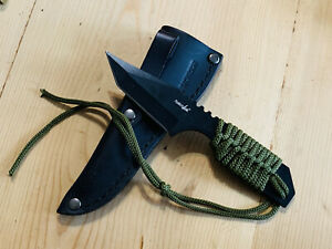 FIXED-BLADE ~ SURVIVOR ~Survival Knife Green Paracord Black Tanto Blade Tactical