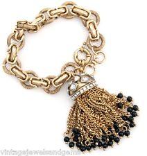 HAUTE COUTURE DESIGNER Chunky Bead Crystal Rhinestone Gold Tassel Charm Bracelet