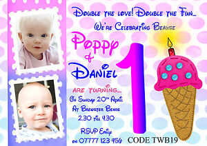 Details About Personalised Twins S Boys 1st Birthday Invitations With Free Envelopes
