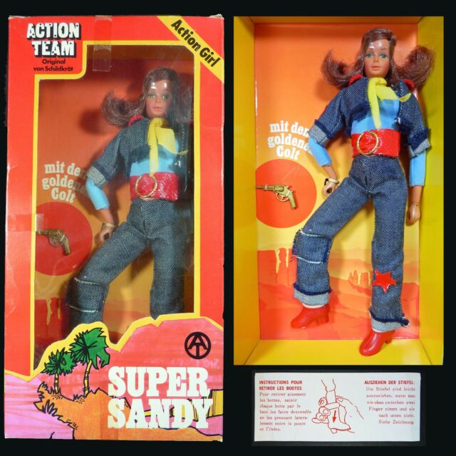 Vintage 1975 Action Team Super Sandy Boxed Figure w/ Instructions Hasbro GI Joe