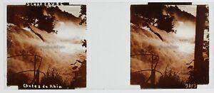 Schaffhausen Cadute Del Reno Suisse Foto Stereo PL59L6n Placca Vintage c1910